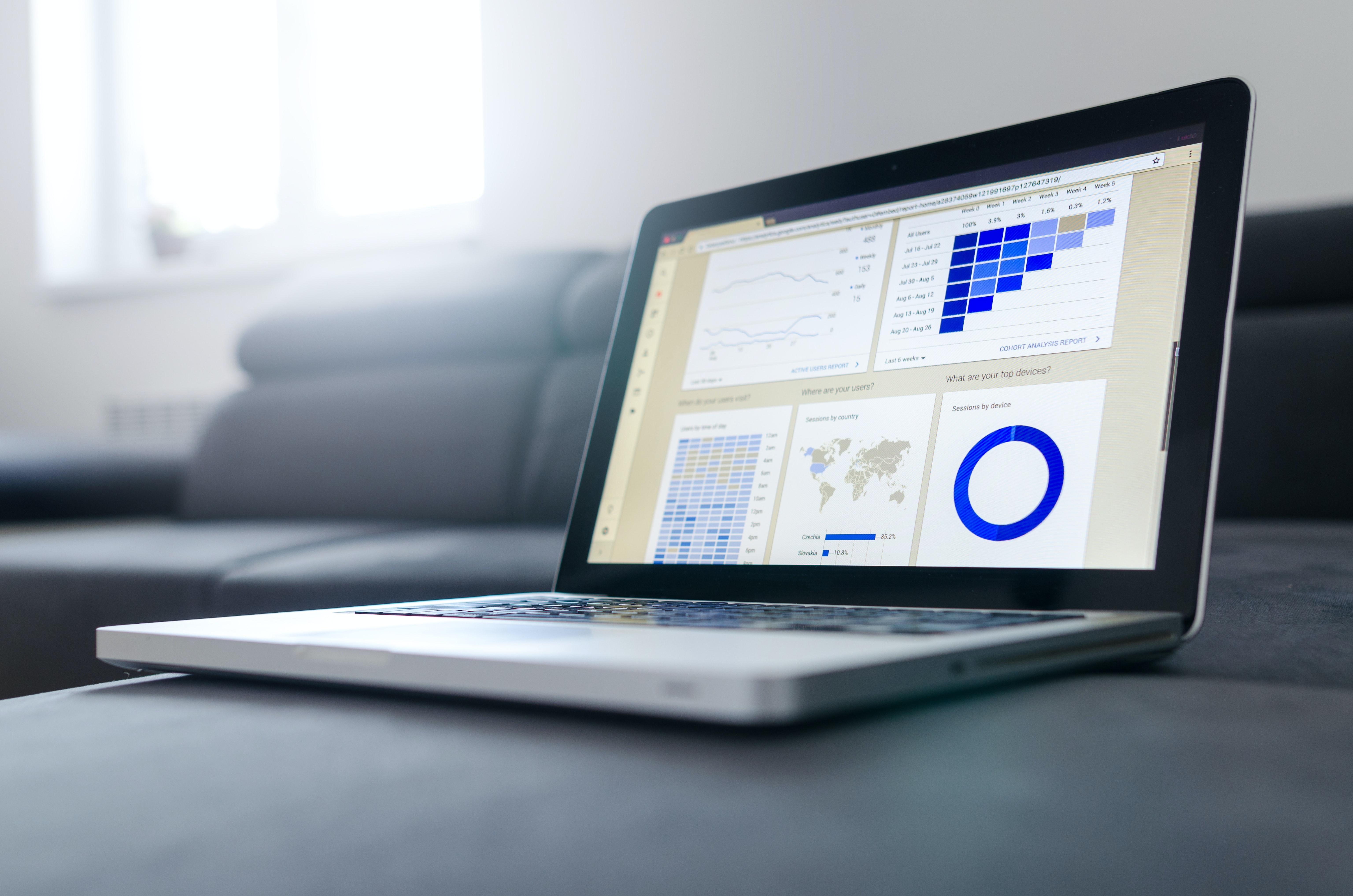 Analytics dashboard open on Macbook screen
